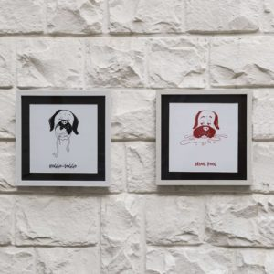 Dog face Artworks – Set of 3 | Black
